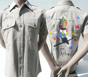 Mens Beige- Short Sleeve - Button up - I Am Victory